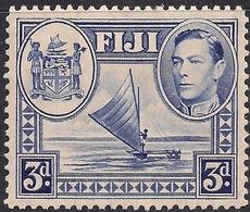 Fiji 1940 KGV1 3d Blue Canoe & Arms MM SG 257 ( J1240 ) - Fiji (...-1970)