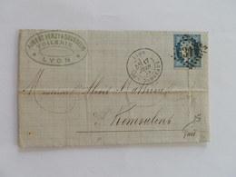 CERES DENTELE 60 SUR LETTRE DE LYON LES TERREAUX A REMOULINS DU 17 JUIN 1874 (GROS CHIFFRE 6316) - Marcofilia (sobres)