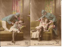 "9576. LOT DE 2 CPA 1918 POILU ET SA FIANCEE COQUINE ""ENLEVE çA MA PETITE"" - Humour"