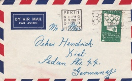 Australia Cover Franked W/1956 Melbourne Olympic Games Posted Perth 9.12.1955 To Germany (G93-35) - Sommer 1956: Melbourne