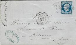 1861- Lettre De SALINS ( Jura ) Cad T15 Affr. N°14 Oblit. P C 2784 + O Boite Rurale De Marnoz - 1849-1876: Période Classique