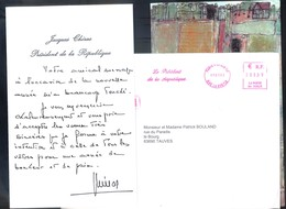 """LETTRE - CARTE DE VOEUX PRESIDENT DE LA REPUBLIQUE JACQUES CHIRAC -""""CAMPAGNE HEUREUSE"""" DUBUFFET édit PALAIS ELYSEE 2002 - Autographes"""