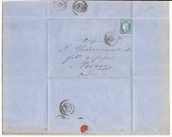 France Lettre Du 27 Mars 1873 De Bourg-en-Bresse Pour Voiron Timbre N° 60 A - 1871-1875 Cérès