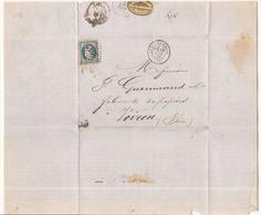 France Enveloppe Du 29 Août 1872 ? Du Puy-en-Velay Pour Voiron Timbre N° 60 A LGC 3043 - 1871-1875 Cérès