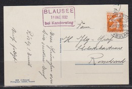 Schweiz Kasten-o BLAUSEE 18.Okt.1932 Bei Kandersteg Und Bahnpost 20.X.32-307 Auf Fotokarte Blausee A.d.Lötschbergroute - Svizzera