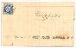 France Enveloppe Du 27 Avril 1873 De Marseille Pour Voiron Timbre N° 60 A LGC 2240 - 1871-1875 Cérès