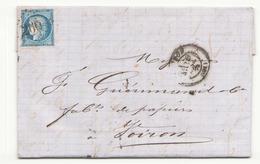 France Lettre Du 25 Janvier 1873 De Avignon Pour Voiron Timbre N° 60 A LGC 260 - 1871-1875 Cérès