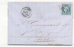 France Lettre  Du 30 Octobre 1872 De Corte Pour Voiron Timbre N° 60 A LGC 1145 - 1871-1875 Cérès