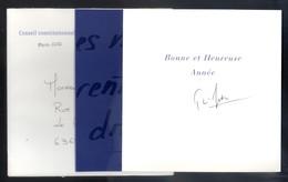 CARTE AUTOGRAPHE DE VOEUX De Pierre JOXE - CONSEIL CONSTITUTIONNEL  - 2002 - TRES BELLE CARTE édit Du CONSEIL - Autographes