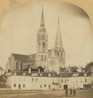 Stéréo 1860-70 Furne & Tournier . Chartres . La Cathédrale . - Stereoscopio