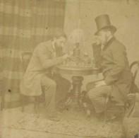 Stéréo 1860-70 Banselin Opticien 5 Rue Bonaparte à Paris . Partie D'échecs . - Photos Stéréoscopiques
