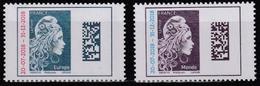 Année 2018 - Marianne De Digan - T-P Europe Et Monde Surchargés 20-07-2018 - 31-12-2018 - 2 Valeurs - Unused Stamps