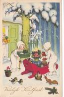 495/ Vroolijk Kerstfeest, Getekend, Kinderen In Sneeuw Met Slee En Cadeaus - Kerstmis