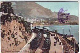 MONACO . MONTE CARLO . LES TRAINS EN GARE DE MONTE CARLO . AQUA PHOTO - Monte-Carlo