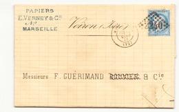 France Enveloppe Du 10 Janvier 1873 Marseille Pour Voiron Timbre N° 60 A LGC 2240 - 1871-1875 Cérès