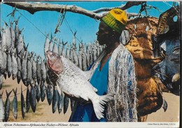 PESCATORE AFRICANO - DA FOGGO CAMP KONO - VIAGGIATA 1978 FRANCOBOLLO ASPORTATO - Africa