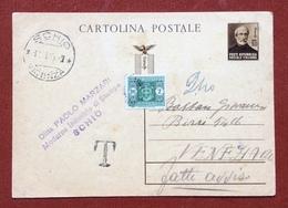 INTERO POSTALE  REPUBBLICA SOCIALE MAZZINI 30 C.  Da SCHIO VICENZA A VENEZIA IN DATA 16/11/45 SEGNO T DI TASSA E L. 2 - 4. 1944-45 Repubblica Sociale