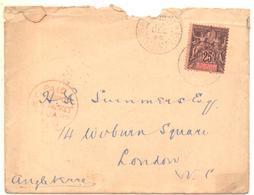 Lettre Taxée Pour Londres De Décembre 1898  Arrivée à Londres En Janvier 1899 Avec 25c Groupe Seul Sur Lettre Cote 150 € - French Guinea (1892-1944)