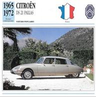 Fiche Editions Atlas Automobile Voitures Populaires Citroën DS 21 Pallas - Voitures