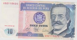 Banknote Peru 10 Intis - Ricardo Palma - Writer - Coat Of Arms - 1985 - Pérou