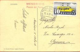 Switserland Postcard Cancel  Bus Transport Poste Automobile 1937 Mendrisio Piazza Del Ponte - Bus