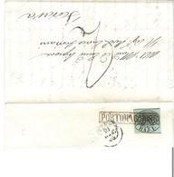 Stato Pontificio 1856: Lettera Da PORTOMAGGIORE 21 GIU 56 Per Ferrara Con BAJ.I  Michel-No 2 Tipo I A - Etats Pontificaux