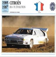 Fiche Editions Atlas Automobile Voitures De Course Citroën BX 4 TC Evolution - Voitures