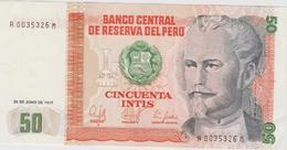 Banknote Peru 50 Intis - Nicolas De Piérola - President - Finance Minister - Coat Of Arms - 1985 - Peru