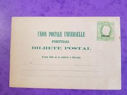 Cp Carte Postale Vierge ENTIER POSTAL Portugal Timbre Portugais Vert 30 Reis Roi Cachet ACORES Union Postale Universelle - Entiers Postaux