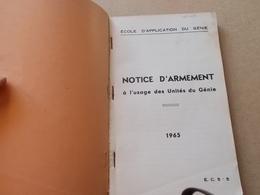 MILITARIA 1965 ECOLE APPLICATION DU GENIE NOTICE ARMEMENT Mac 50 Mat 49 Mas 36 L. Roquette FM Grenades - Documenti