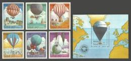 LAOS 1983 MANNED FLIGHT OMNIBUS 150TH ANNIVERSARY BALLOONS PICCARD SET & M/SHEET MNH - Laos