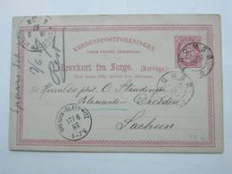 1887 , Karte Aus  Tromso Nach Dresden Mit Maschinenstempel Als Ankunftstempel - Norwegen