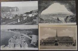 Etretat (Seine-Maritime) - Lot De 22 Cartes Postales Anciennes Dont Couleur Et Animées + Correspondances Militaires - Etretat