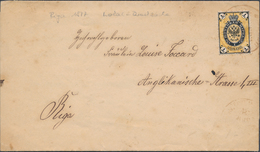 Russia Latvia 1877 Printed Matter Entire Sent Locally In Riga With 1 Kop. In Orange Nuance Tied Red Handstamps (48_2452) - Covers & Documents