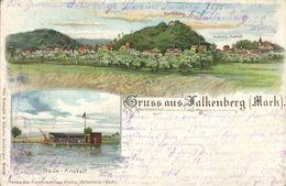 FALKENBERG, Mark, Panorama, Bade-Anstalt (1900) AK - Falkenberg (Mark)