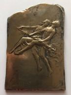 Médaille Bronze Argenté. Ballets Russes Anna Pavlova Et Diaghilev. Pastorale. G. Devreese. 50 X 80 Mm - 113 Gr. Uniface. - Professionals / Firms