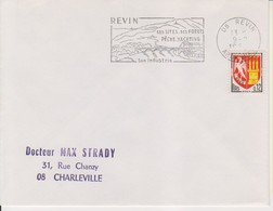 """1965 France 08 Ardennes Revin Flamme """"Ses Sites, Ses Forets, Son Industrie"""" - Postmark Collection (Covers)"""