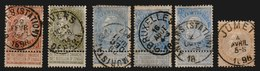 MiNr. 53, 54, 55, 57  Belgien / 1893, 1. Juni/1. Nov. Freimarken: König Leopold II. Bdr.; Gez. 14. - 1893-1900 Schmaler Bart