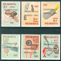 NICARAGUA 1964 Olympic Summer Games, Tokyo Optd Set (6v), XF MNH, MiNr €4.50 - Nicaragua