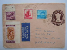 India Stationary Entier Postal Envelope Used 20 To Berlin Germany - Enveloppes