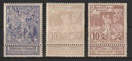MiNr. 64 - 66  Belgien 1896, 15. Okt./15. Nov. Internationale Ausstellung In Brüssel. Bdr. (55), Unterdruck Grau, Rosa O - 1894-1896 Ausstellungen