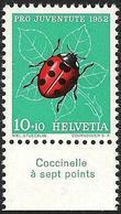 """Schweiz Suisse Pro Juventute 1952: Zu 144 Mi 576 Yv 527 ** MNH + Tab  """"Coccinelle à Sept Points"""" (SBK CHF 4.00) - Altri"""