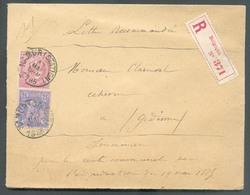 N°46-48 Obl. Sc NAMUR (STATION) Sur Lettre Recommandée Du 17 Mai 1885 Vers Gedinne.  BElle Fraîcheur - 13430 - 1884-1891 Léopold II