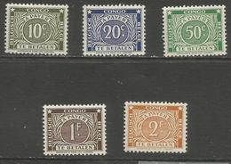 Belgian Congo - 1943 Postage Due  MNH **    Sc J8-12 - Belgian Congo