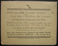 1927, Pub Pour Blonville Sur Mer (Calvados) Au Revers D'une Lettre De Paris Pour Pont L'Évêque - Marcophilie (Lettres)