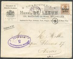 THEME CHARCUTERIE SLAGERIJ  OC 15cent. Obl. Méc. BRUXELLES BRUSSEL Sur Lettre Ill. Du 30-XI-1917 Vers Anvers + Censure V - WW I