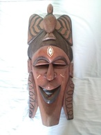 Masque En Bois Sculpté Africain 71x32 Cm - Arte Africano