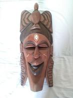Masque En Bois Sculpté Africain 71x32 Cm - African Art