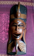 Masque En Bois Sculpté Africain 81,5x27 Cm - Art Africain