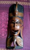 Masque En Bois Sculpté Africain 81,5x27 Cm - African Art